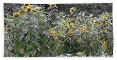 Faded Sunflower Garden Beach Sheet