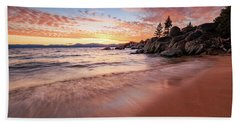 Fading Sunset Waves At Sand Harbor Beach Towel
