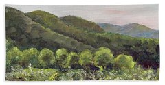 Beach Towel featuring the painting Fainting Goat Valley - Vineyards -  Jasper, Ga by Jan Dappen