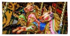 Fairground Carousel Horses Beach Sheet