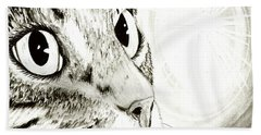 Fairy Light Tabby Cat Drawing Beach Towel