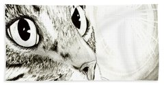 Beach Towel featuring the drawing Fairy Light Tabby Cat Drawing by Carrie Hawks