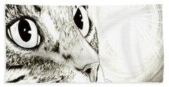 Fairy Light Tabby Cat Drawing Beach Towel