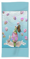 Fairy Riding An Egg And Easter Bunny Beach Sheet