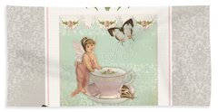 Fairy Teacups - Flutterbye Butterflies And English Rose Damask Beach Towel by Audrey Jeanne Roberts
