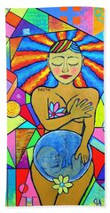 Faith, She Carries The World On Her Hips Beach Towel by Jeremy Aiyadurai