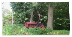 Faithful American Tractor Beach Towel by Jeanette Oberholtzer