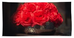 Fake Red Roses In Shadows On A Metallic Pot  Beach Towel