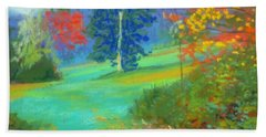 Fall Across The Field  Beach Towel