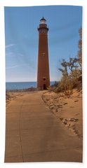 Fall At Little Point Sable Light Beach Towel