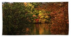 Fall At The Lake Beach Towel by Judy Wolinsky