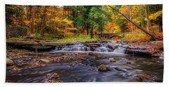 Beach Towel featuring the photograph Fall At Wolf Creek by Mark Papke