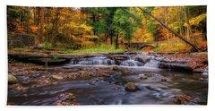 Fall At Wolf Creek Beach Sheet by Mark Papke