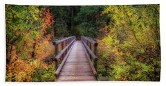 Beach Towel featuring the photograph Fall Bridge by Cat Connor