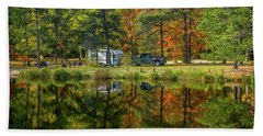 Fall Camping Beach Towel