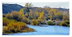Beach Towel featuring the photograph Fall Color On The Yuba  by AJ Schibig