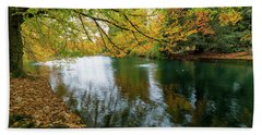 Beach Towel featuring the photograph Fall Colors At Laurelhurst Park Portland Oregon by Jit Lim