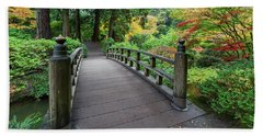 Beach Towel featuring the photograph Fall Colors By The Foot Bridge by Jit Lim