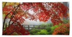 Fall Colors By The Moon Bridge Beach Towel