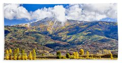Fall Colors In Steamboat With A Lake. Beach Towel