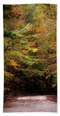 Beach Towel featuring the photograph Fall Colors On The Trail by Shelby Young