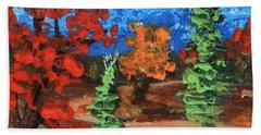 Beach Sheet featuring the painting Fall Colours #1 by Anastasiya Malakhova
