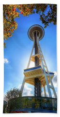 Fall Day At The Space Needle Beach Sheet by David Patterson