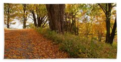 Beach Towel featuring the photograph Fall Driveway by Lois Lepisto