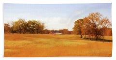 Fall Field - Rural Landscape Beach Towel by Barry Jones