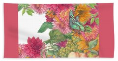 Fall Florals With Illustrated Butterfly Beach Towel