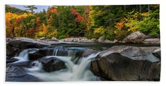 Fall Foliage Along Swift River In White Mountains New Hampshire  Beach Towel