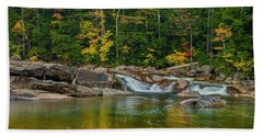 Fall Foliage In Autumn Along Swift River In New Hampshire Beach Towel