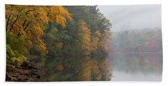 Fall Foliage In The Fog Beach Sheet