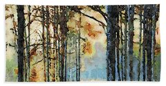 Fall Forest Watercolor Beach Towel