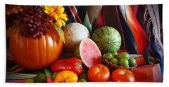 Beach Towel featuring the painting Fall Harvest Still Life by Marilyn Smith