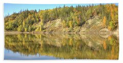 Beach Towel featuring the photograph Fall Hues On The North Saskatchewan River by Jim Sauchyn