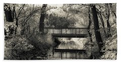 Fall In Black And White Beach Towel