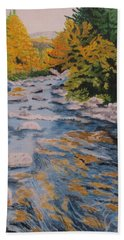 Beach Towel featuring the painting Fall Is Coming by Hilda and Jose Garrancho