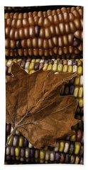 Fall Leaf And Indian Corn Beach Towel