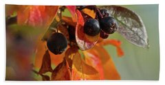 Beach Towel featuring the photograph Fall Leaves And Berries by Ann E Robson