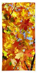 Fall Leaves Background Beach Towel