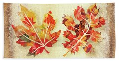 Beach Towel featuring the painting Fall Leaves Collection by Irina Sztukowski