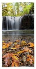 Fall Maple Leaves At Hidden Falls Beach Towel
