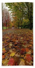 Fall Maple Leaves On Walking Path Beach Towel
