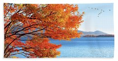 Fall Maple Tree Graces Smith Mountain Lake, Va Beach Towel by The American Shutterbug Society