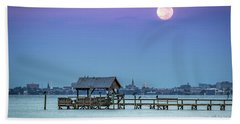 Fall Moon And King Tide - Charleston Sc Beach Towel