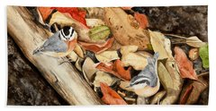Fall Nuthatch Pair Beach Sheet
