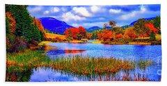 Fall On Long Pond Acadia National Park Maine  Beach Sheet