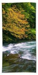 Fall On The Clackamas River, Or Beach Towel