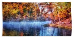 Beach Sheet featuring the photograph Fall On The Lake by Debra and Dave Vanderlaan